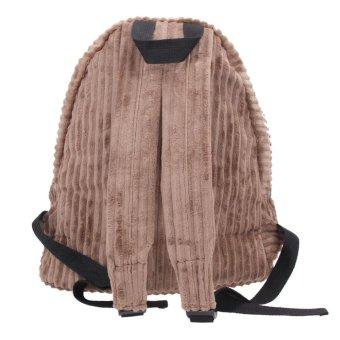 Women Waterproof Corduroy Stripe School Backpack (Brown) - intl
