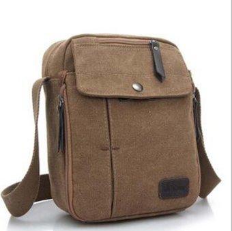 Unisex Fashion Retro Canvas Bag Shoulder Travel Bag Coffee - intl