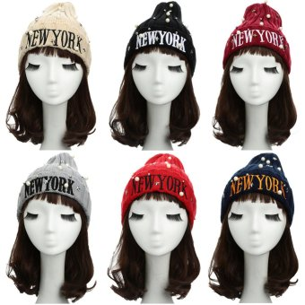 New Unisex Women Men Beanie Hat Letter Embroidery Pearl Star Solid Warm Hip-Hop Cool Knitted Cap Headwear - Intl