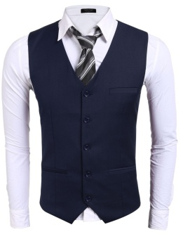 Cyber Men Basic Slim Single-Breasted Contrast Color Patchwork Business Suit Vest ( Navy Blue ) - intl