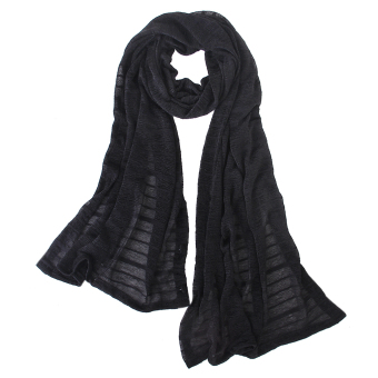 Woman Sun UV Protection Long Chiffon Pashmina Wrap Scarf Stole Shawl Black - Intl