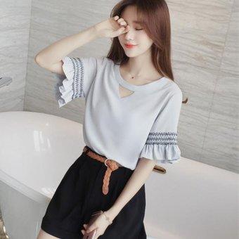 Spring and summer Korean sweet lace short sleeved Chiffon chiffon blouse blouse - intl