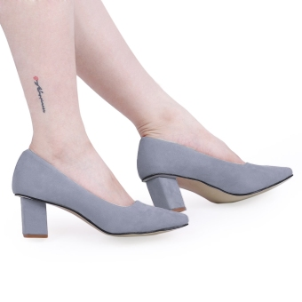 Crapemyrtle Casual Solid Color Square Toe Ladies Rough Heels Shoes(Gray) - intl