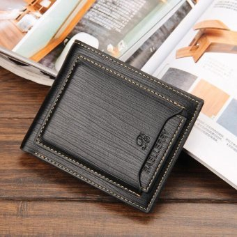 Men Male Purse PU Credit Card Holder Coin Pocket Wallet Clutch Business Zipper Short Brand Fashion Wallets, Black - intl