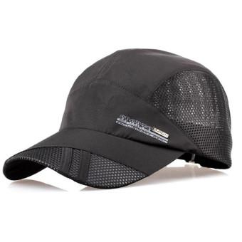 Unisex Mesh Quick Dry Adjustable Sport Snapback Cap Black - Intl