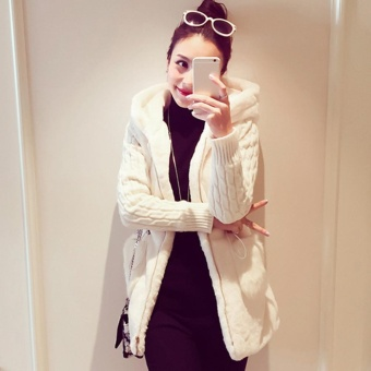 Moonar Knitted Patchwork Plush Thickened With Hat Coat For Women (Beige) - intl