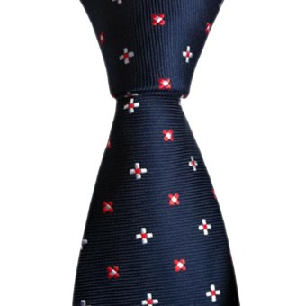 Red White Blue Flowers Neoclassical Silk Jacquard Tie 155cm - intl