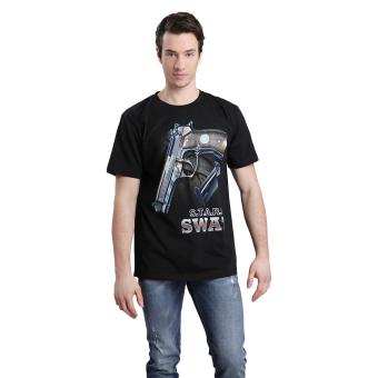 Hemiks Men Casual Cotton 3D Pring T-shirts (Black) - intl