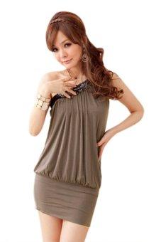 Linemart Off Shoulder Sleeveless Mini Dress (Dark Grey) - intl