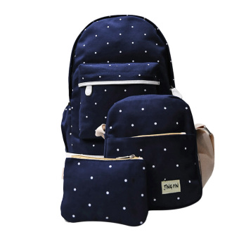 3pcs Korean Cute Canvas Backpack Spots Dark Blue - intl