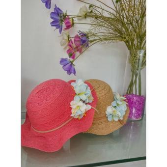 Mũ thời trang bé gái kết Hoa -Cam