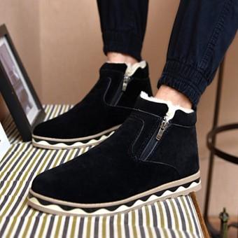 Winter Men Cotton Boots Fur Lining Keep Warm Plush Casual Outdoor Flat Shoes Black - intl