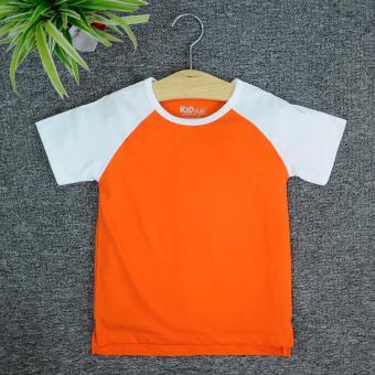 Áo thun trơn trẻ em KIDSTYLE Raglan tay ngắn thân màu(Trắng - Cam cà rốt)