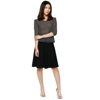 Chân váy dài lưng cao cách điệu Đen V02115100