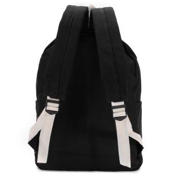 Women Canvas Backpack School Men Travel Rucksack Laptop Shoulder Black (Intl)