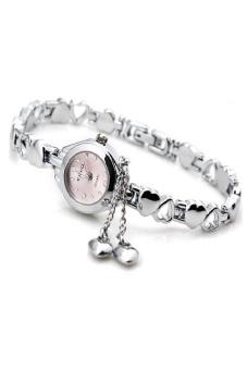 Đồng hồ nữ dây kim loại KIMIO kiểu dáng lắc tay (Trắng bạc)