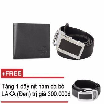 Mua Bộ ví và thắt lưng nam da bò thật LAKA đen trơn + Tặng 01 thắt lưng nam da bò LAKA (đen trơn) trị giá 300000đ giá tốt nhất