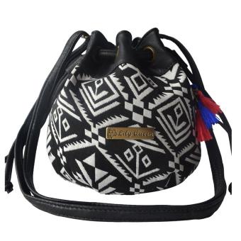Ethnic Canvas Drawstring Mini Bucket Backpack Shoulder Bag Satchel Black Totem - Intl