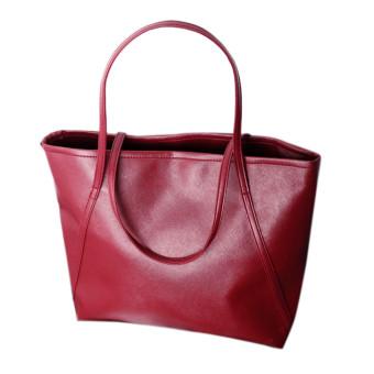 Simple Winter Larger Capacity Leather Women Bag Shoulder Bag Red