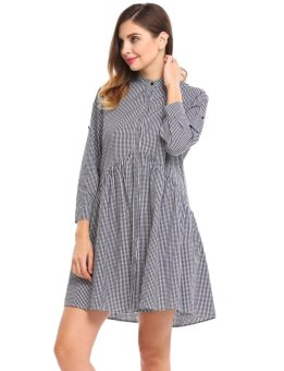 Sunweb Women Long Sleeve Plaid Button Down A-Line Short Shirt Dress ( Black & white ) - intl