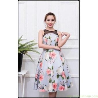 Đầm xòe vintage in hoa 3d phối lưới cao cấp thời trang | Đầm xòe đẹp