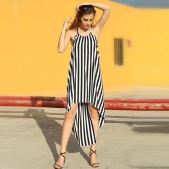 Cyber Angvns Ladies Halter Sleeveless Splicing Striped Asymmetric Hem Backless Party Dress (Black,White) - Intl