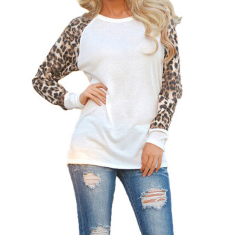 Fashion Sexy Ladies Leopard Chiffon Top Blouse Long Sleeve Casual T-shirt White ZANZEA (Intl)