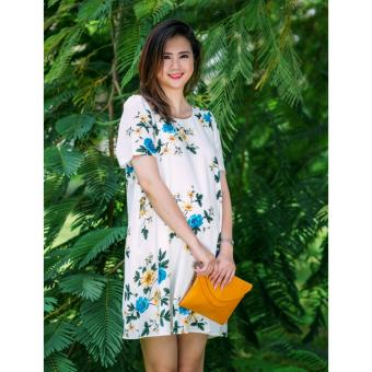 Đầm bầu công sở họa tiết bông hoa mùa hè AnnaNina 505033 ( Trắng in hoa)