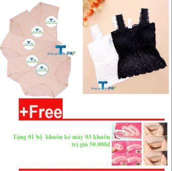 Bộ 05 quần lót đúc (da) + 02 áo hai dây hoa Thái Lan (trắng + đen) + Tặng kèm 01 set khuôn mày Giá tốt 247