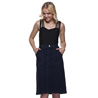 Women Polyester Mid Waist Front Pocket Denim Skirt (Deep Blue) - intl