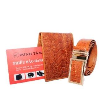 Bộ thắt lưng và ví nam da đà điểu Minh Tâm MT126TVd (Nâu)