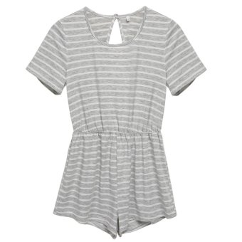 Cyber Fashion Women Short Sleeve Stripe Backless Elastic Waist Casual Mini Jumpsuit Romper (Grey) - Intl