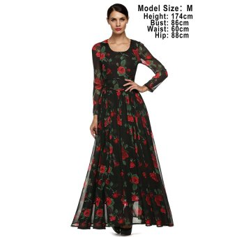 Cyber FINEJO Women Fashion Print Casual Long Sleeve Chiffon Maxi Pleated Dress (Black) - Intl