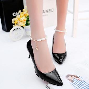 giày cao gót có vòng ngọc trai có 1 hạt rủ xuống tuyệt xinh-157_màu đen