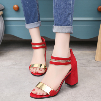 Women's Sandals With Metal Decoration And Open-Toed Design(Red) - intl
