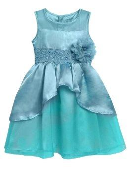 Linemart New Kids Girl O-Neck Sleeveless Flower Party Wedding Tulle Ruffle Dress ( Blue ) - intl