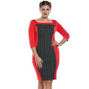 Linemart Fashion Women Simple Striped Slimming Wear to Work Bodycon Dress ( Red ) - intl