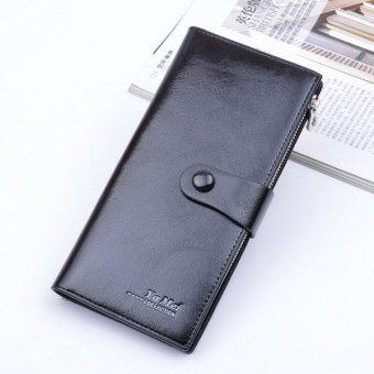 Hot sale new Women&men's wallet mulit Card Place Handbags zipper PU Leather thin purse black - intl