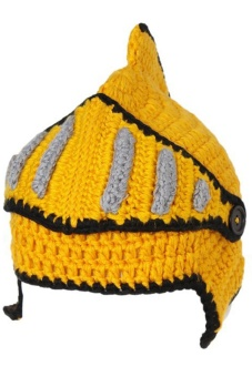 LALANG Hand-Knit Beanie Roman Knight Masks Cap (Yellow)