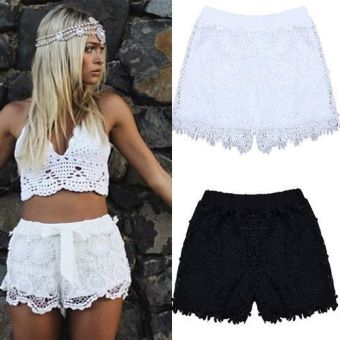 Women Elastic High Waist Lace Shorts White - Intl