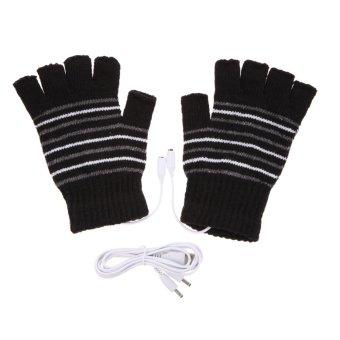Black 5V USB Powered Heating Heated Winter Hand Warmer Gloves Washable - intl