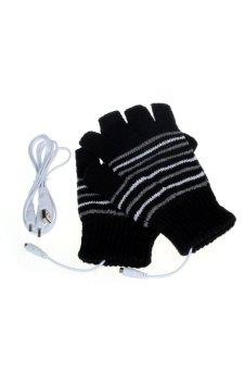 5V USB Powered Heating Heated Winter Hand Warmer Gloves Washable Black - Intl