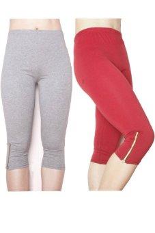 Bộ 2 quần lửng nữ dài ¾ chun co dãn SoYoung 2WM CROPPED PANT 003 ZIP G R (Ghi Đỏ)