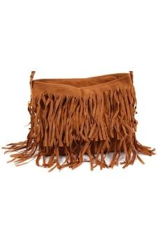 LALANG Women Tassel Suede Fringe Cross-body Shoulder Bag Handbag Brown