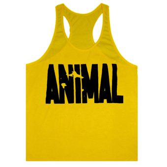Moonar Men's Fashion Animal Letters Pattern Fitness Tank Top H-back Vest M-XXL (Yellow ) - intl