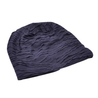 Hip Hop Fold Cap Slouch Wrinkled Beanie Cap Male And Female Dance Hat Dark Blue