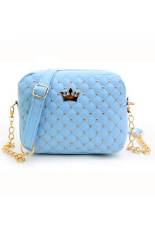 Rivet Chain Shoulder Bag Leather Crossbody Bag (Blue)