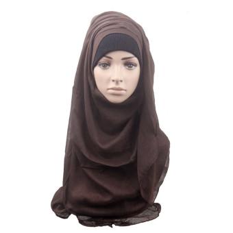 Fashion Muslim Women Shawl Scarf Head Cover Headscarf Muffler Brown