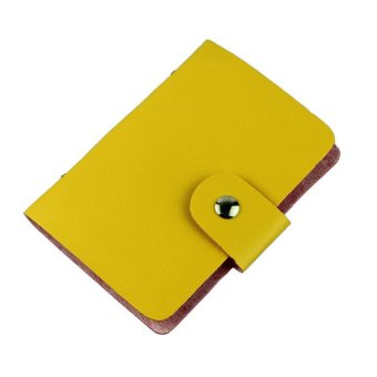 Fashion Business Credit ID Card Holder Bags Leather Strap Buckle Bank Card Yellow
