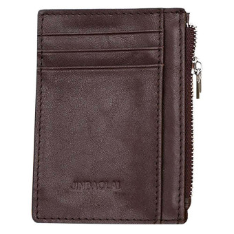 Luxury Retro Zipper Mens Leather Wallet Credit ID Card Purse Coffee